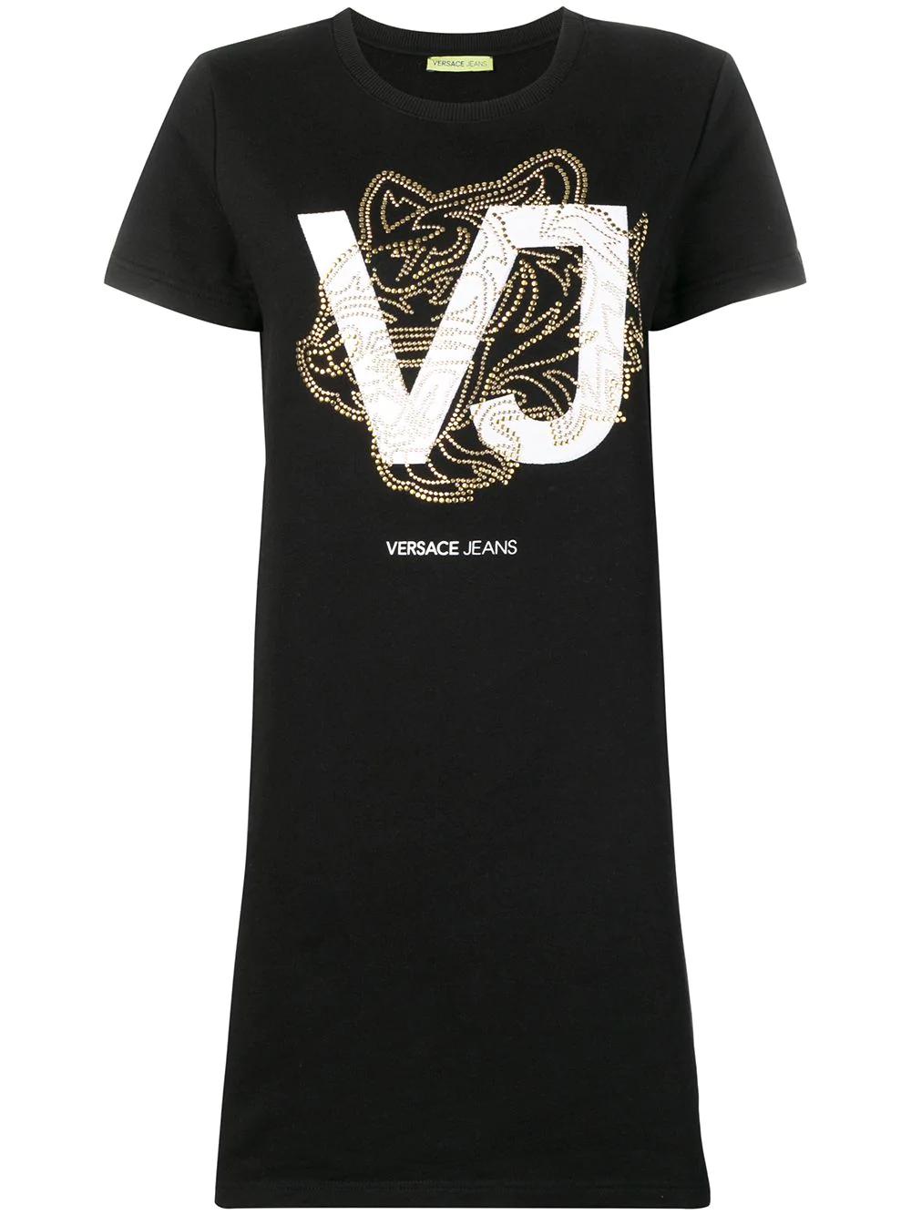 ab8988d98 Versace Jeans Logo T-Shirt Dress - Black | ModeSens