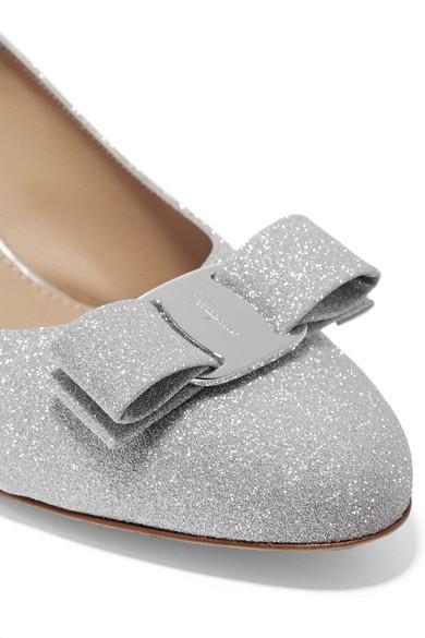 b10684dc08 Salvatore Ferragamo Carla Bow-Embellished Glittered Leather Pumps In Silver