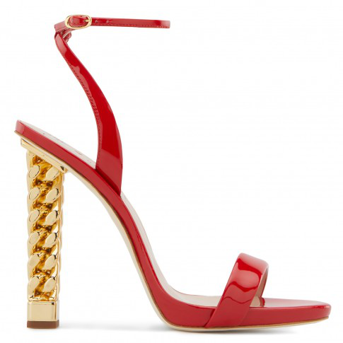 7077ef71df7 Giuseppe Zanotti Giuseppe For Rita Ora Patent Leather Slingbank Sandals In  Red