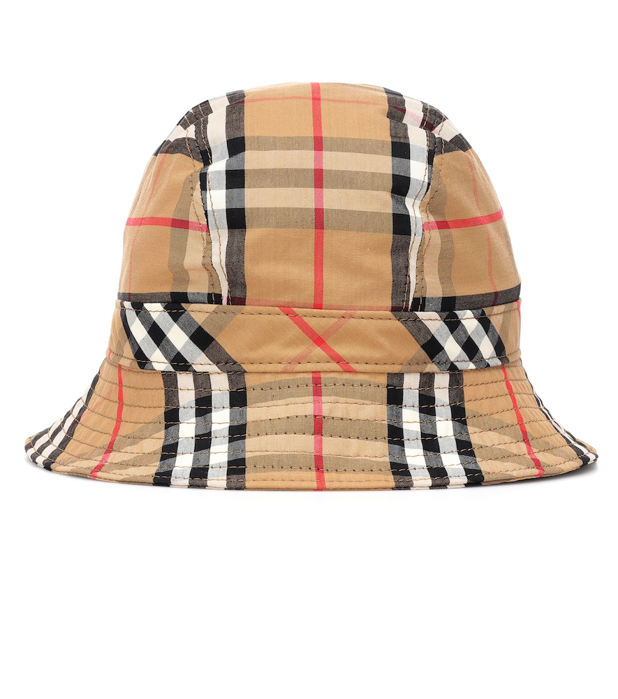 4a220bb21a35a Burberry Rainbow Stripe Vintage Check Bucket Hat In Camel