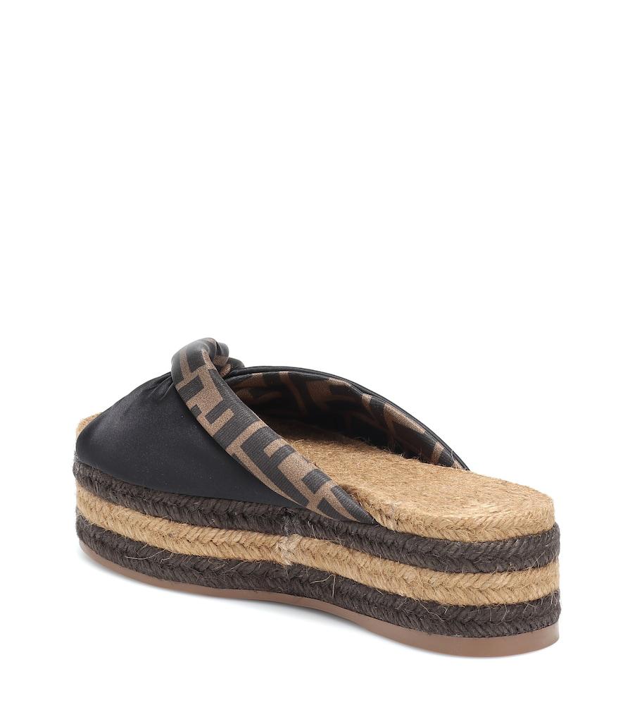 797baa4182e2 Fendi Satin Platform Espadrille Sandals In Black