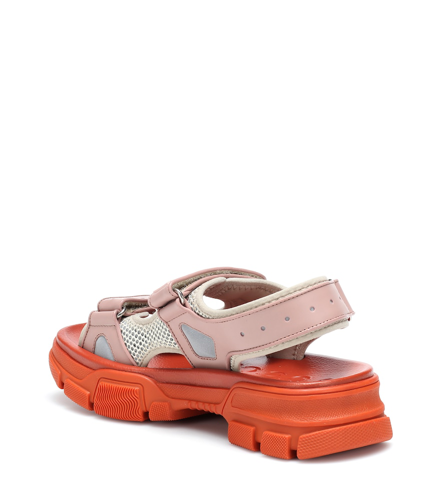Gucci Leather And Mesh Sneaker Sandal In Orange In Pink