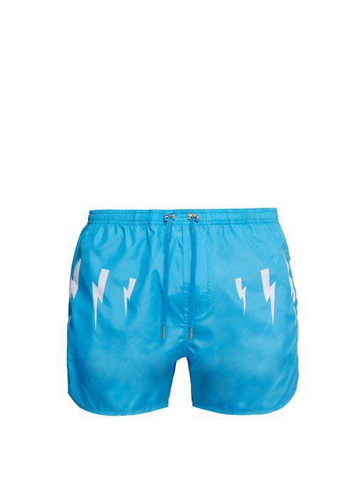 deb40740b1 Neil Barrett - Lightning Bolt Print Swim Shorts - Mens - Blue White ...