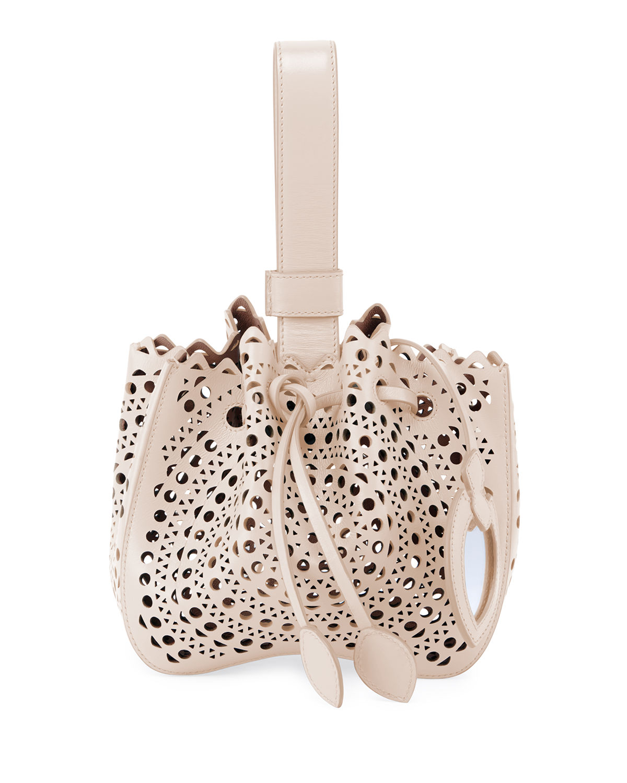 AlaÏA Rose Marie Mini Bucket Bag In Beige