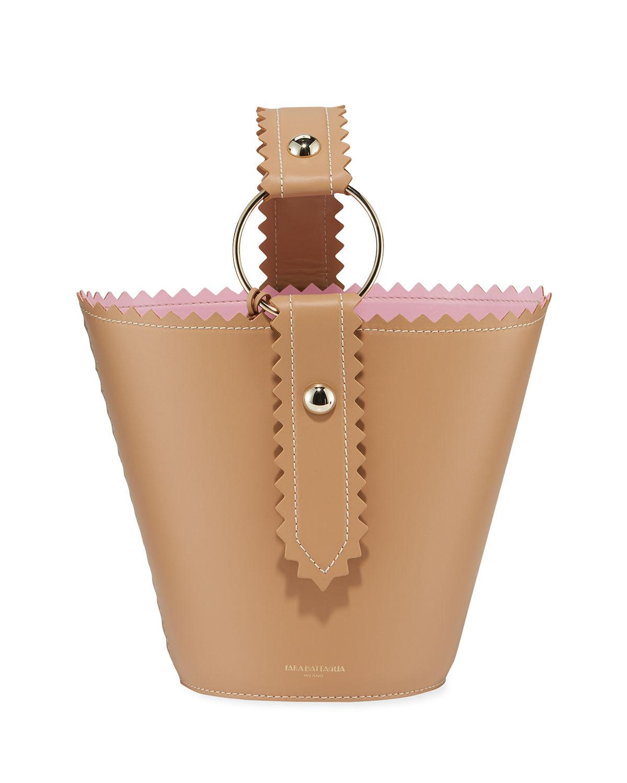 225ebcf377 Sara Battaglia Helen Jar Leather Bucket Bag In Brown Pink