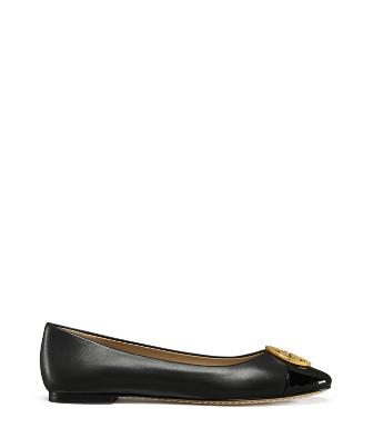 51c81325c73d Tory Burch Chelsea Soft Leather Cap-Toe Ballet Flats In Black