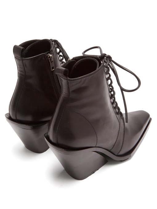 a840a7470ad Ann Demeulemeester - Slanted Heel Lace Up Leather Ankle Boots - Womens -  Black