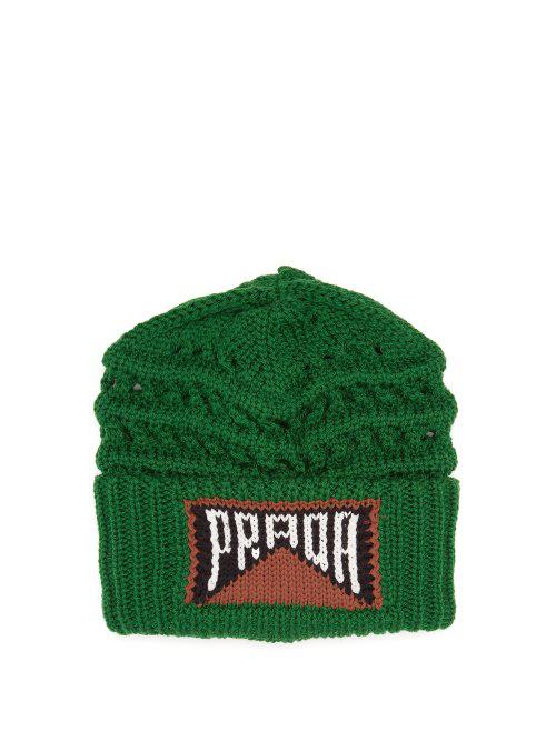 20f129d3 Prada - Logo Knitted Wool Beanie Hat - Womens - Green | ModeSens
