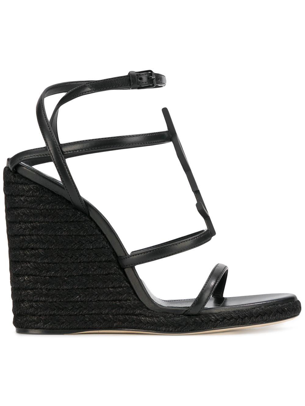5d426014ff9 Saint Laurent Cassandra Wedge Espadrilles With Black Logo In Leather ...