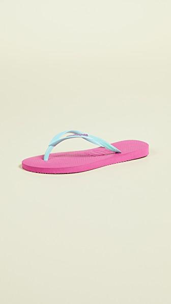 713e5baacedd1e Havaianas Slim Logo Pop Up Flip Flops In Hollywood Rose Ice Blue ...