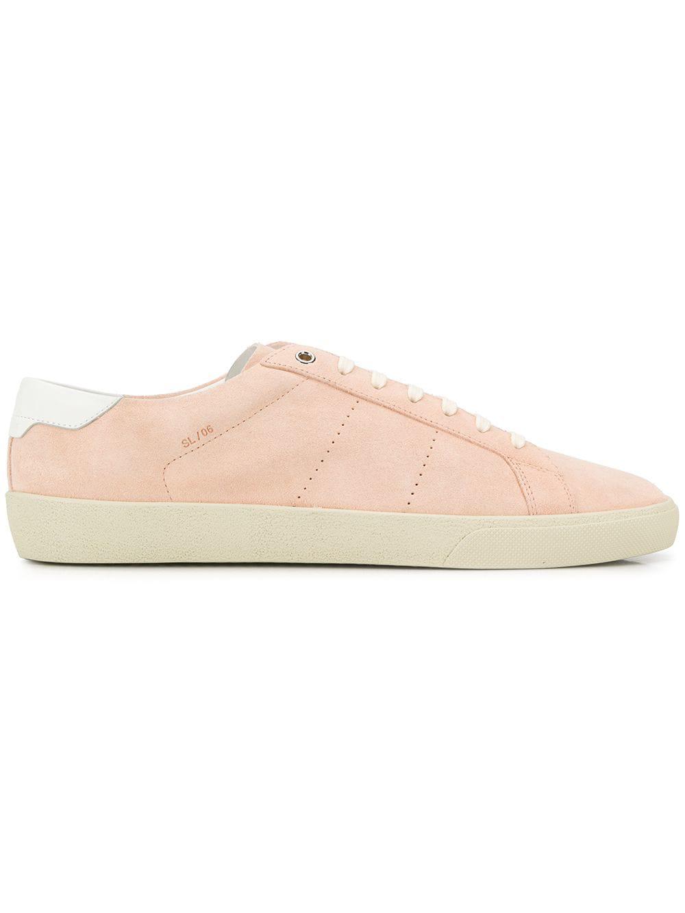 8cdad642c9bc4 Saint Laurent Pink Suede Court Classic Sl 06 Sneakers. Farfetch