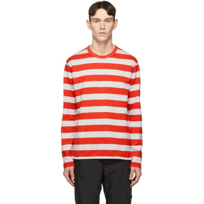 91321ca23c Junya Watanabe Grey And Red Horizontal Stripe T-Shirt In 1 Grayred ...