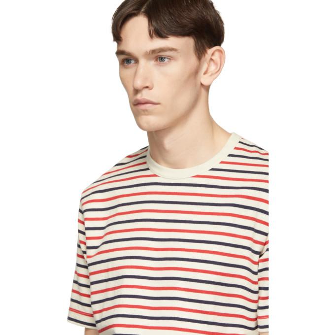 ba4e465870 Junya Watanabe Off-White Horizontal Stripes T-Shirt In 1 Nat/Red/N ...