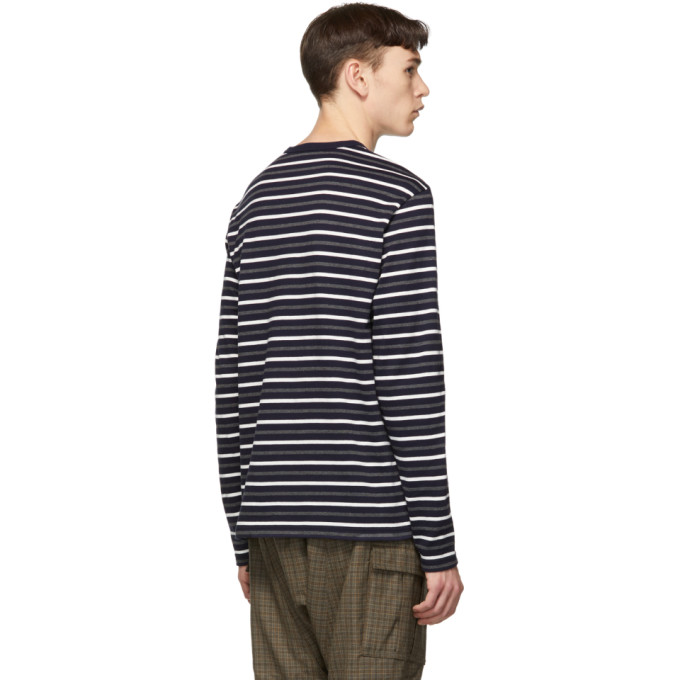 3fb1a8432d Junya Watanabe Navy Horizontal Stripes Long Sleeve T-Shirt In 1 Nvy/Gry/