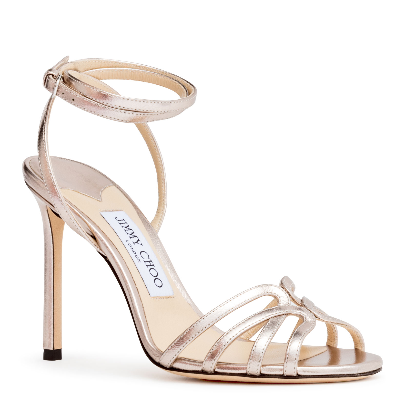 1f9f2fef5 Jimmy Choo Mimi 100 Platinum Metallic Nappa Leather Wrap Around Sandals