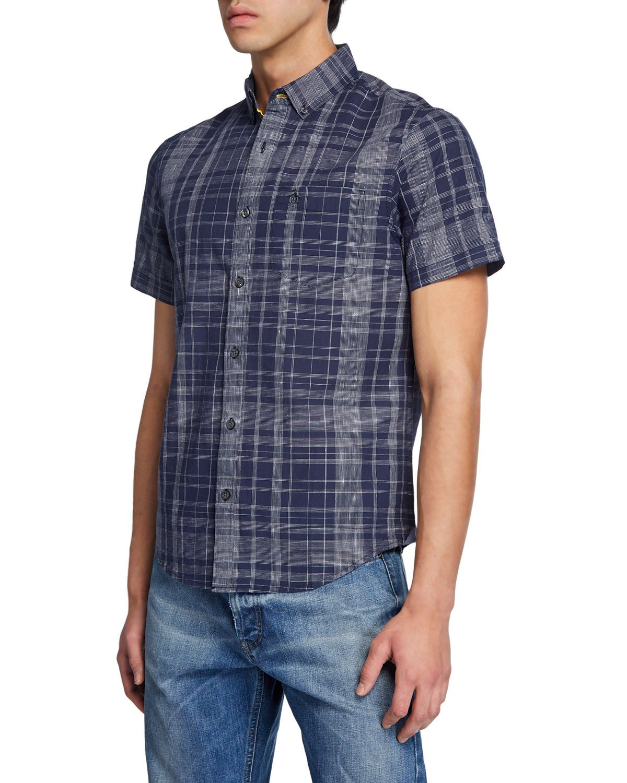 c4ec8315e8c Men's Plaid Short-Sleeve Button-Down Shirt in Dark Blue