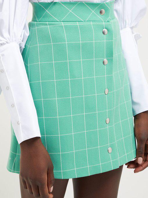 f9a5ed0cf64b Sara Battaglia - High Rise Checked Crepe Mini Skirt - Womens - Green White