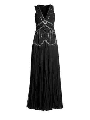 ee4fe5b2739 Bcbgmaxazria Chiffon Star-Embroidered Sleeveless Gown In Black ...