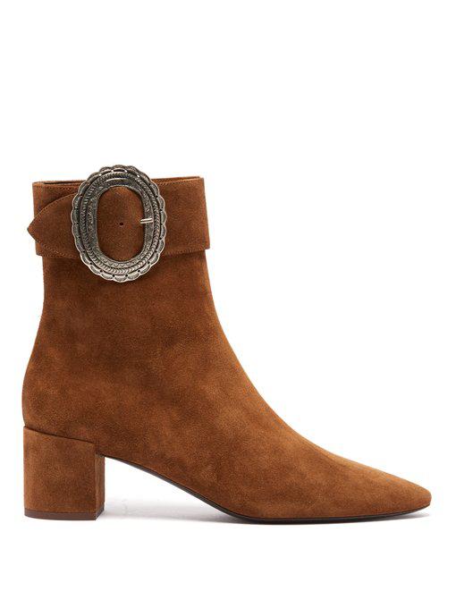 2883cc7a9f88d Saint Laurent Joplin Suede Ankle Boots - Camel