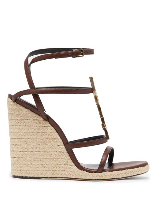 Saint Laurent Cassandra Platform Espadrilles In Leather With A Bamboo Logo In Brown