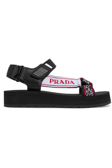 496427619 Prada Logo-Embossed Rubber-Trimmed Leather And Canvas Sandals In Black