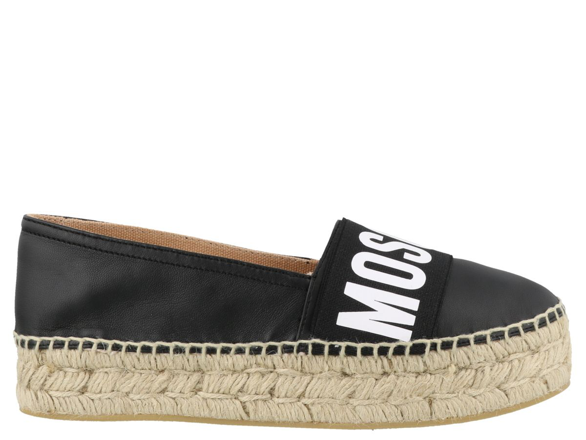 7e1cee722829 Moschino Women s Logo Leather Espadrille Flats In Black