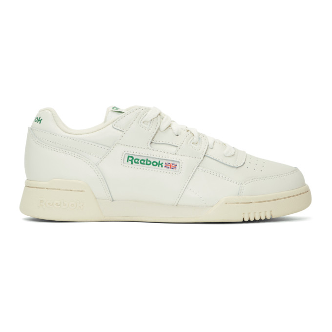 e9b350955a964 Reebok Classics Off-White Workout Plus Sneakers In Chalk Green ...