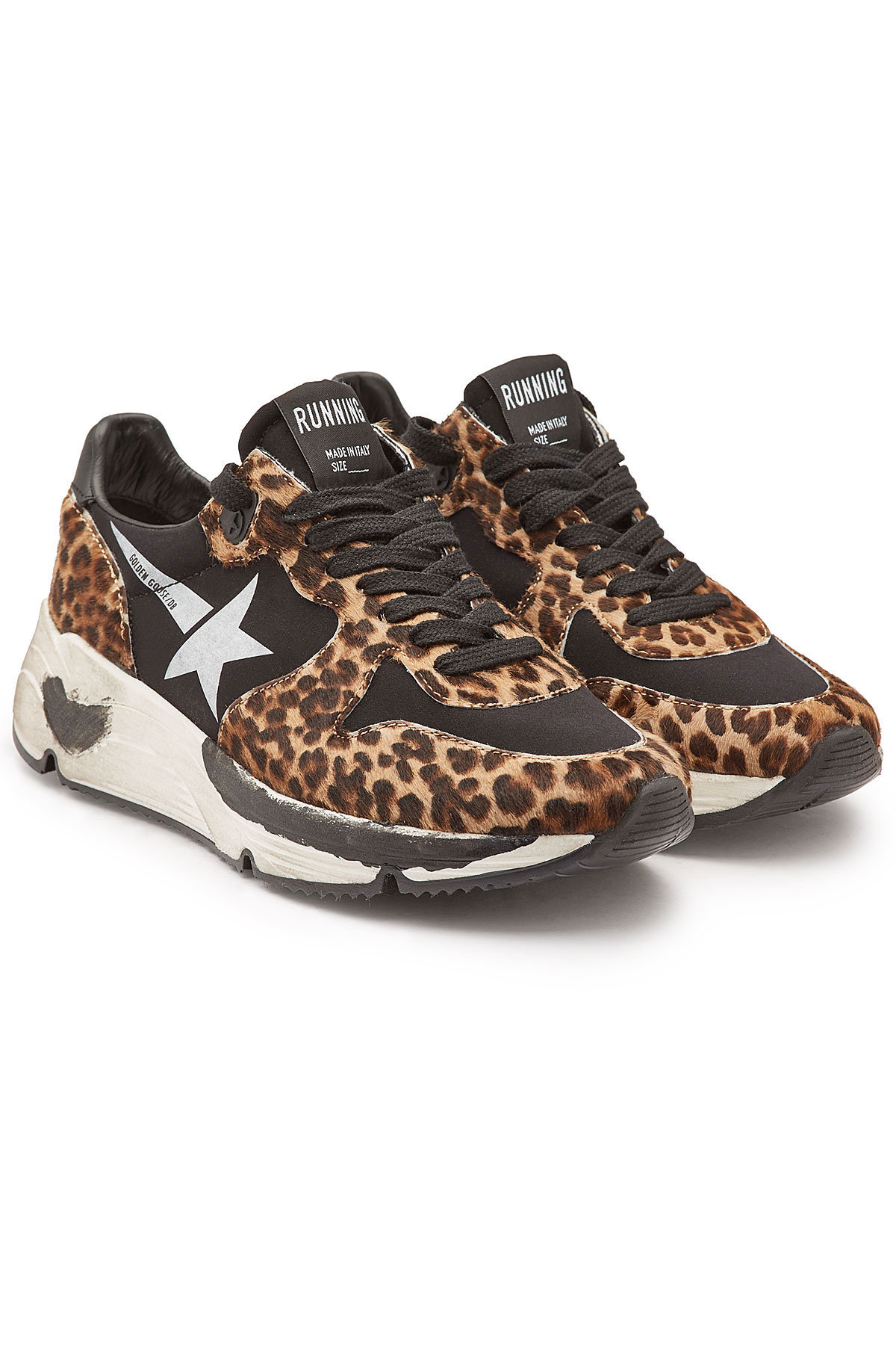 69ee36b193ef Golden Goose Running Sole Distressed Leopard-Print Calf Hair And Neoprene  Sneakers In Black