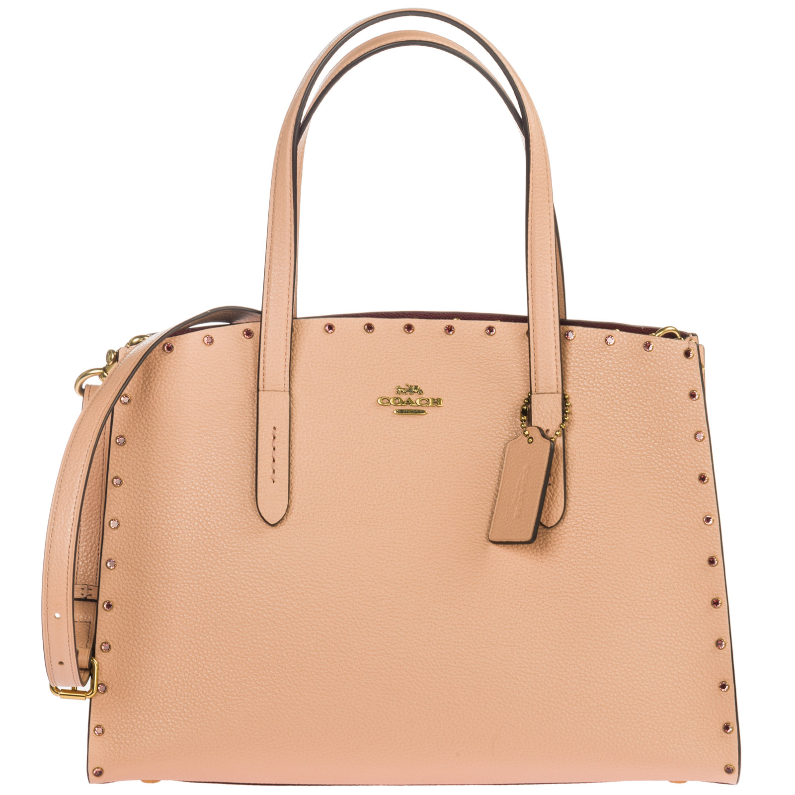 wide varieties later wholesale dealer Women's Leather Handbag Shopping Bag Purse Charlie In Pink