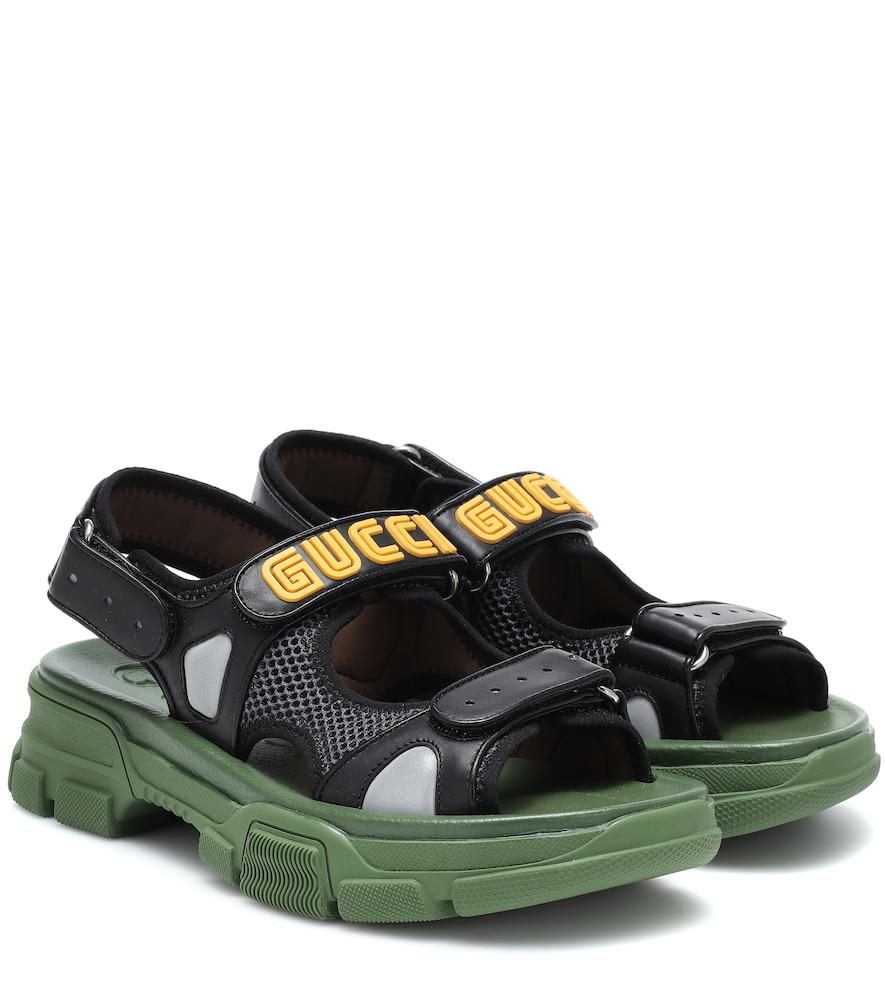 Gucci Aguru Leather And Mesh Sandals In Black