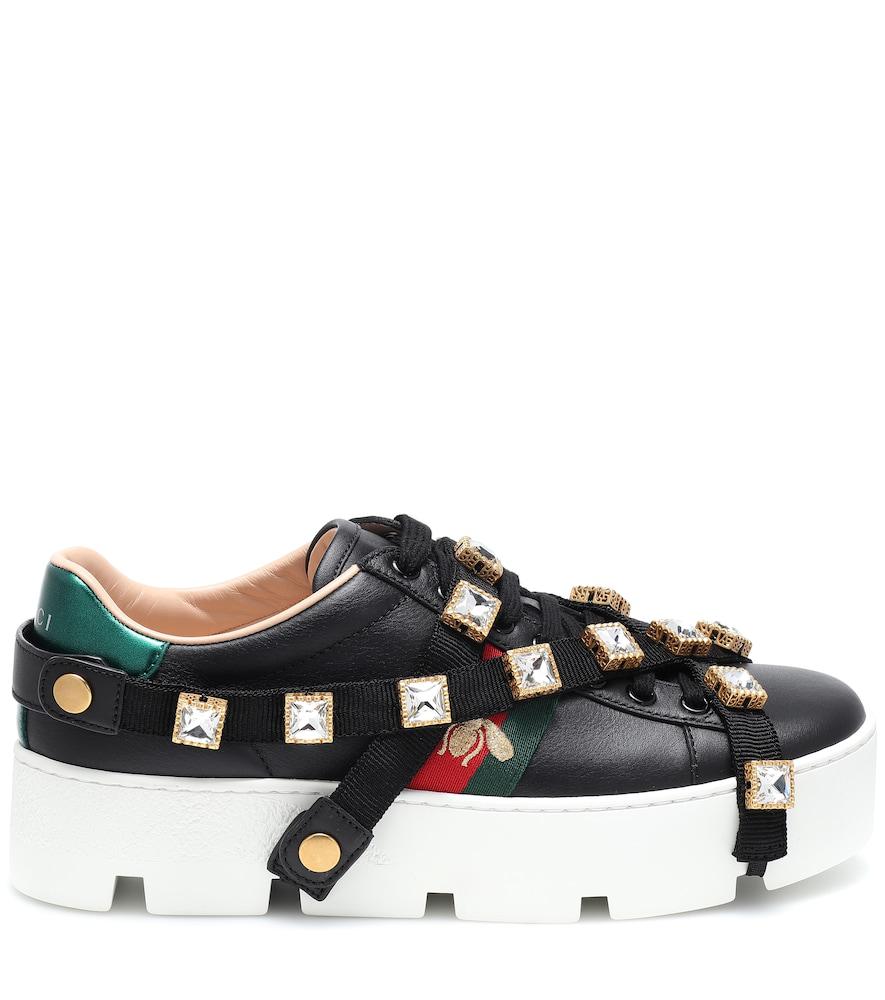Gucci Low-Top Sneakers New Ace Sneaker  Calfskin Gem Logo Black