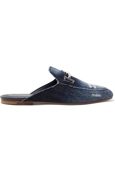 0a5419517 Tod's Embellished Distressed Denim Slippers In Blue | ModeSens