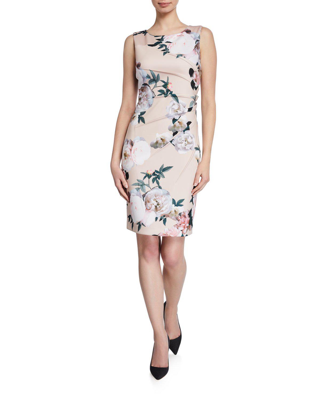 db81d844 Iconic American Designer Starburst Shirred Floral Crepe Sheath Dress In  Pink Pattern
