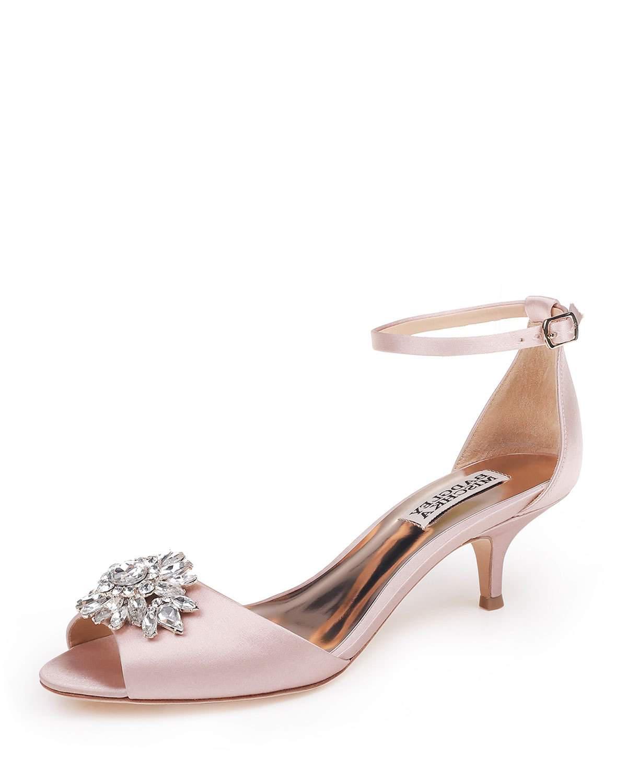 167c478596ac Badgley Mischka Sainte Embellished Kitten-Heel Sandals In Blush ...