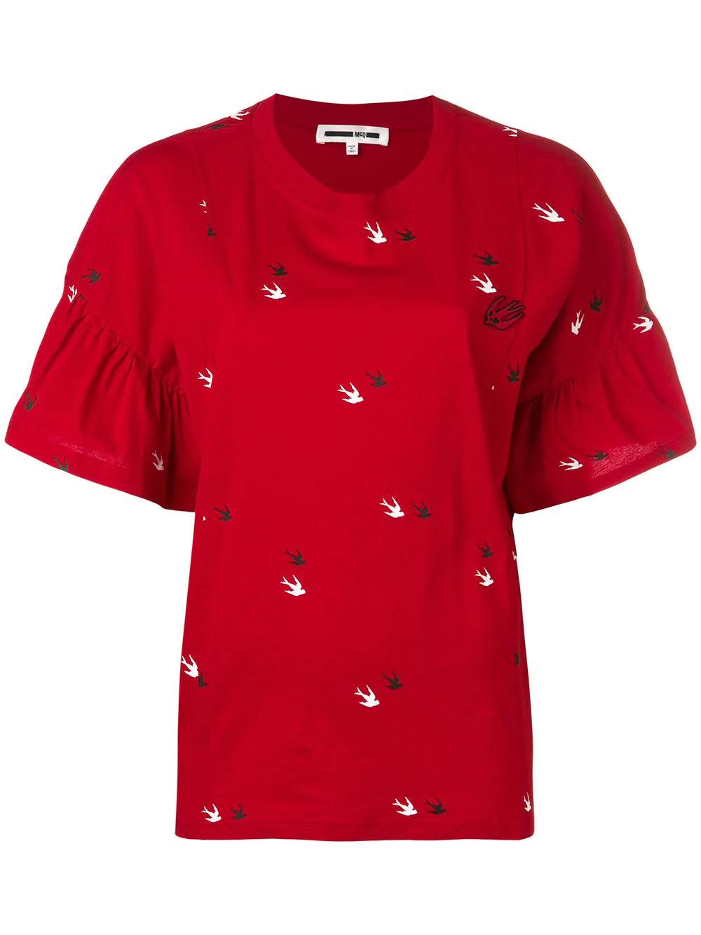 76a58aab2945ba Mcq By Alexander Mcqueen Mcq Alexander Mcqueen Swallow Print T-Shirt - Red