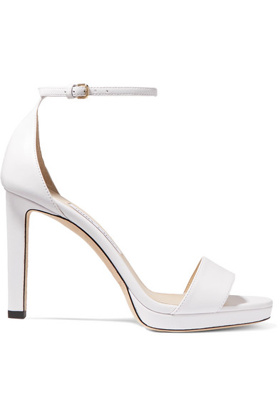 Jimmy Choo Misty 100 Leather Platform Sandals In White