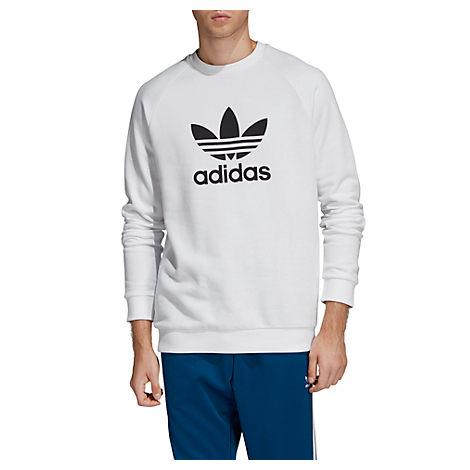 Men's Originals Trefoil Crew Sweatshirt, White Size Small in WhiteBlk