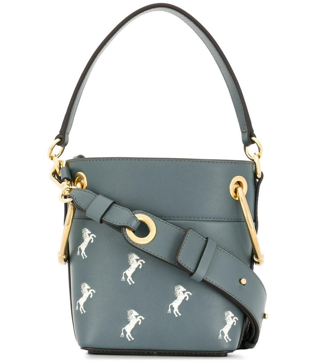 79965e97 Chloe Mini Roy Horse Embroidered Bucket Bag In Blue