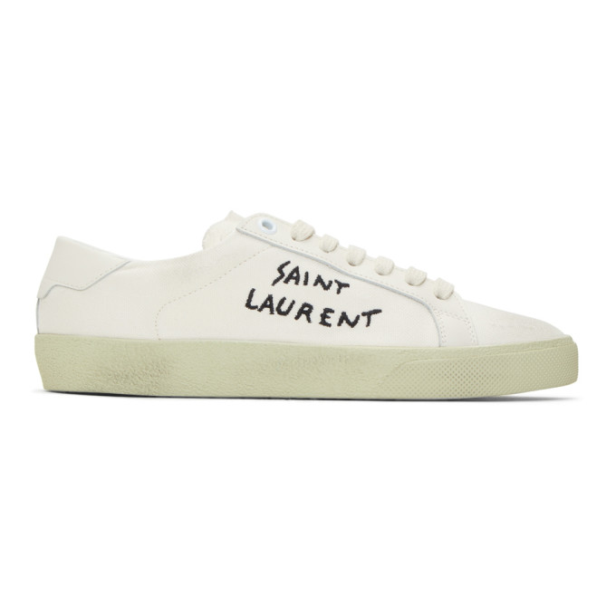 02c4ce2bc5d5 Saint Laurent Court Classic Leather-Trimmed Logo-Embroidered Distressed  Canvas Sneakers In White