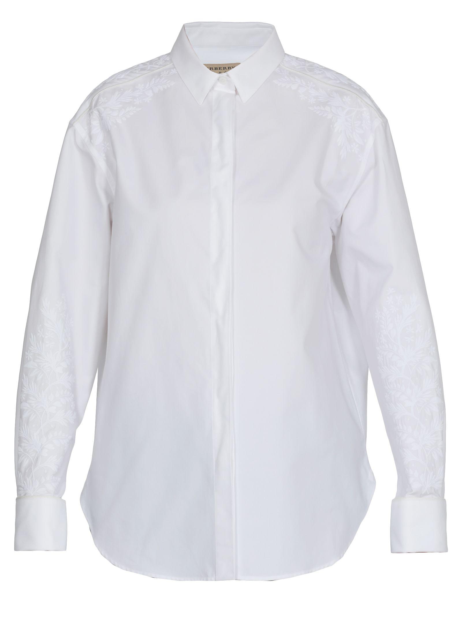 Burberry Altamira Cotton-Poplin Shirt In White