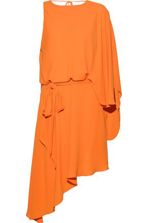 ea3f1b41639618 Halston Heritage Woman Asymmetric Draped Crepe De Chine Mini Dress Orange