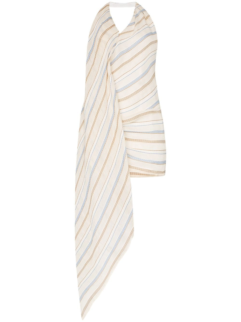 862c90ba665 Jacquemus Spezzia Asymmetric Embroidered Cotton And Linen-Blend Halterneck  Dress In Beige