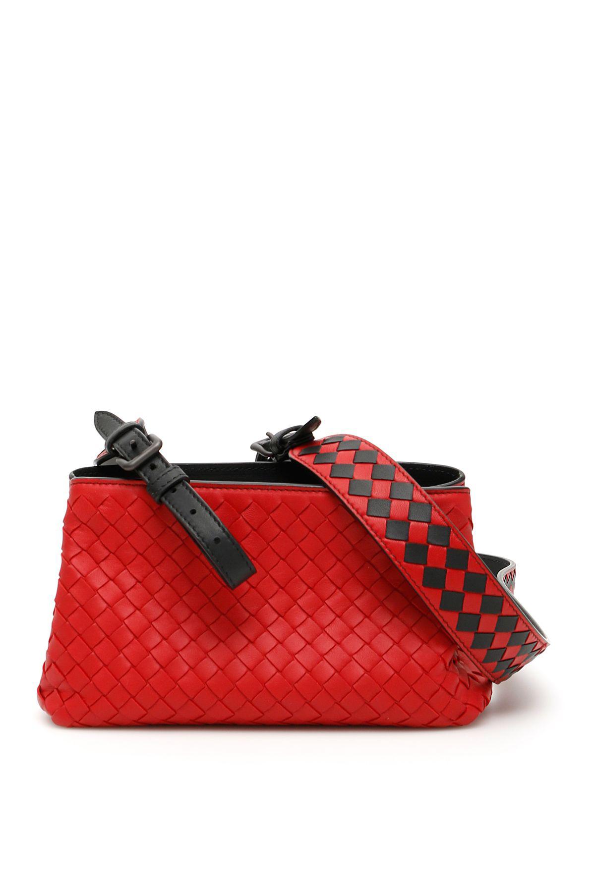 9f52fde0e9 Bottega Veneta Intrecciato Crossbody Bag In China Red Nero