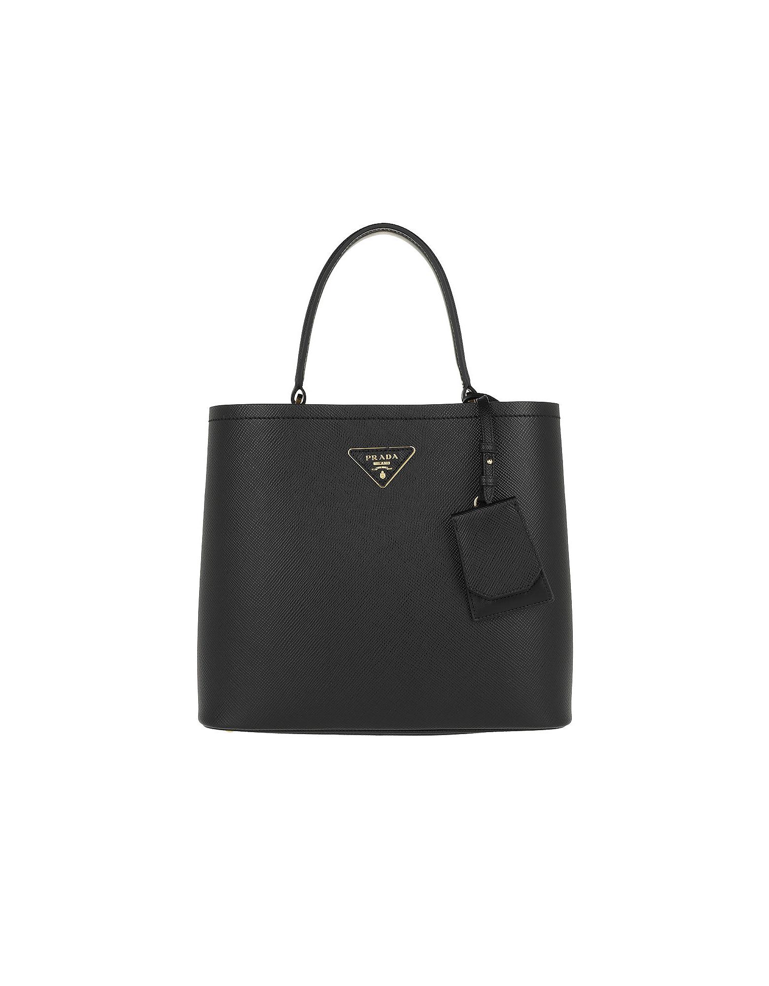 28fac80cef0e Prada Double Saffiano Leather Bag Nero/Fuoco In Black/Red | ModeSens