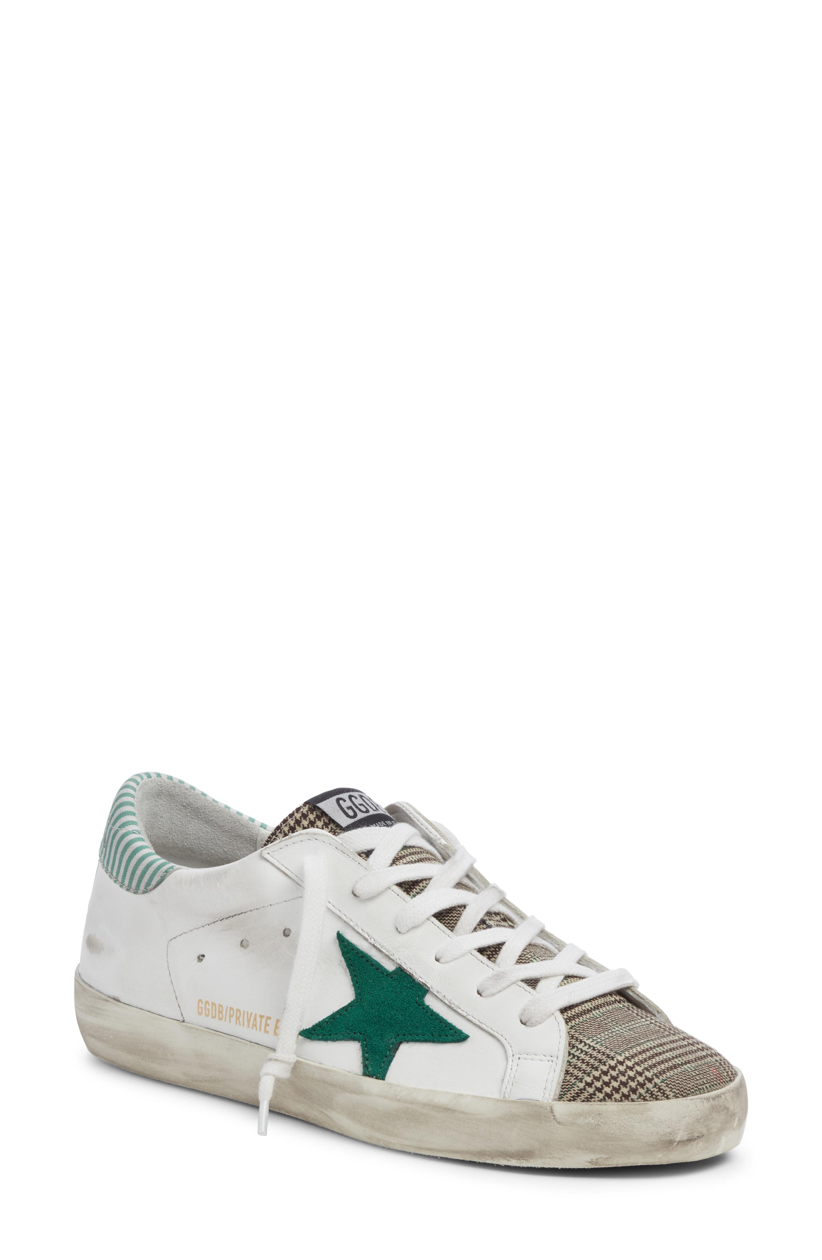 4654d4d847e Golden Goose Superstar Mixed Media Sneaker In White  Green Plaid ...