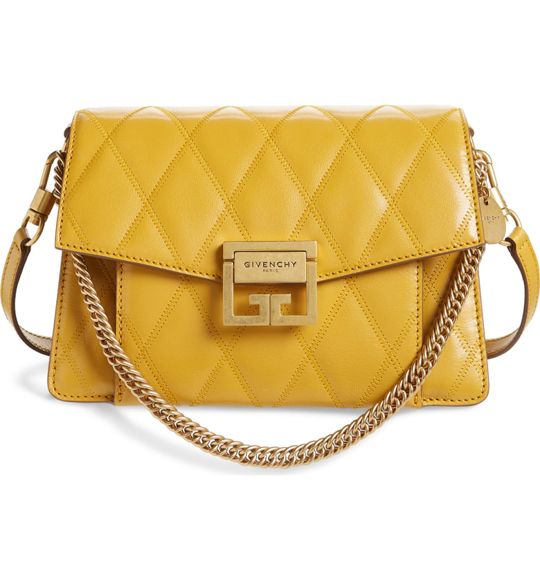 b26b98b26e Givenchy Small Gv3 Diamond Quilted Leather Crossbody Bag - Yellow In Golden