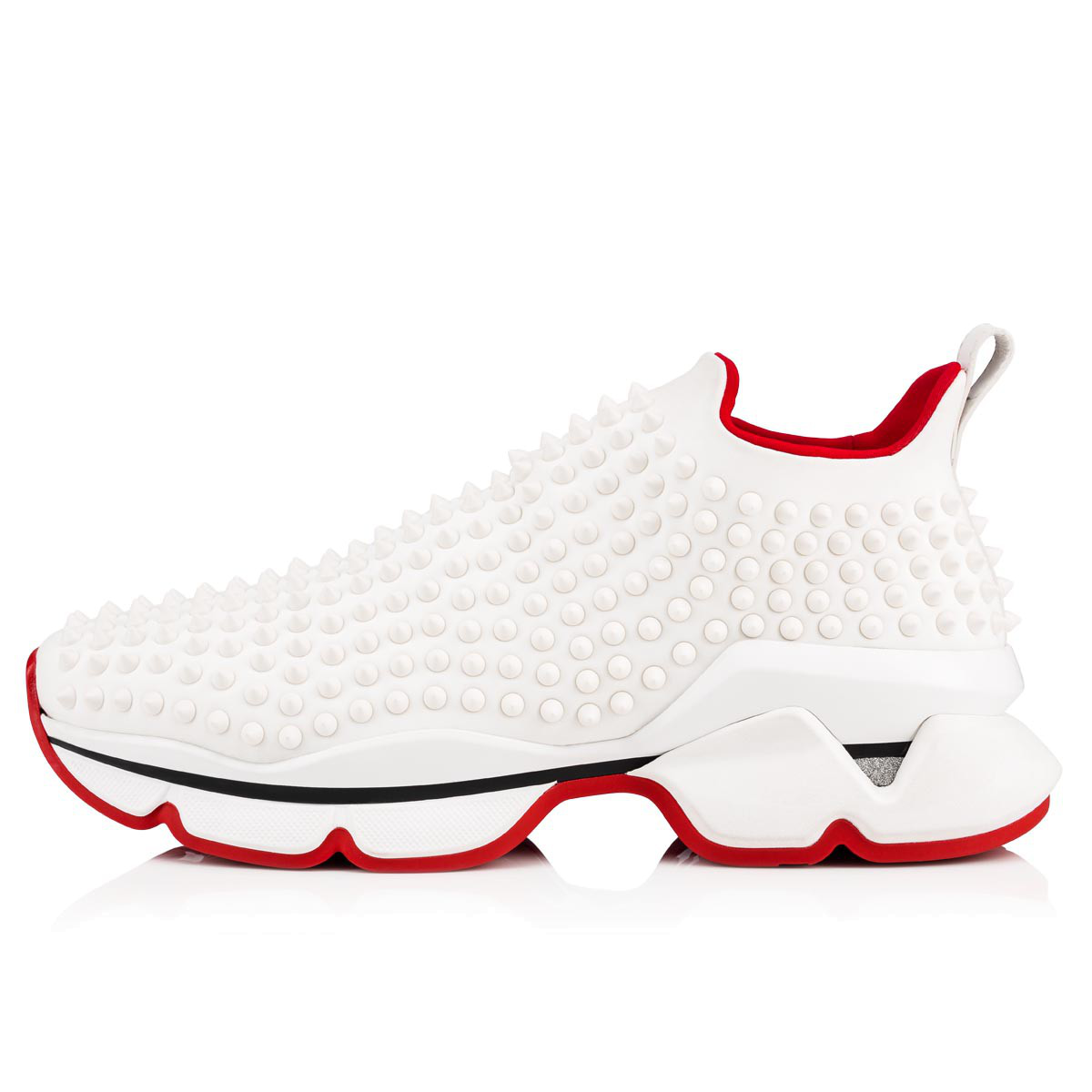 9c4a3007d0ed Christian Louboutin Spike-Embellished Neoprene Sock Trainers In White