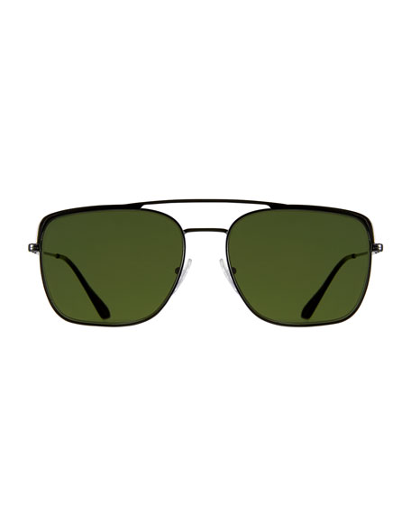 251ad725bdb Prada Men s Square Metal Aviator Sunglasses In Black Green