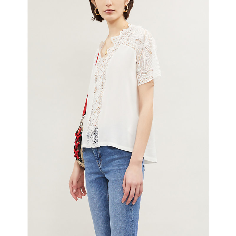 dc7cb0456b8564 Maje Short-Sleeved Guipure Lace Top In Off White