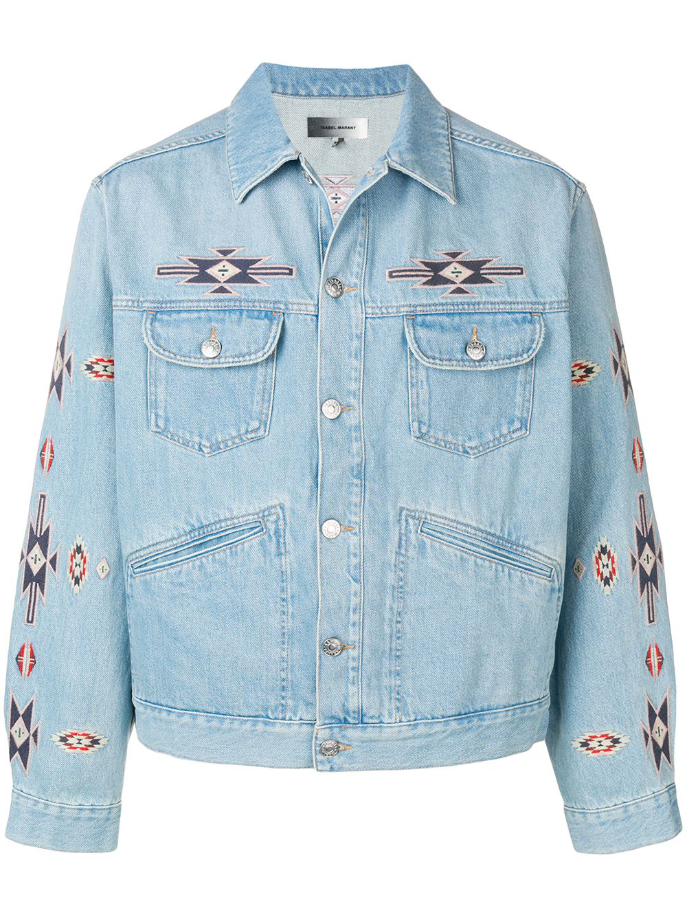 258b435a9fe46 Isabel Marant Jango Embroidered Denim Jacket - Light Denim In Blue ...